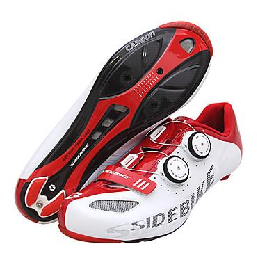 رخيصةأون أحذية ركوب الدراجة-SIDEBIKE Road Bike Shoes ألياف الكربون مقاوم للماء متنفس مكافح الانزلاق ركوب الدراجة أحمر / أبيض رجالي أحذية الدراجة / توسيد / تهوية / خفيف جدا (UL) / توسيد / تهوية