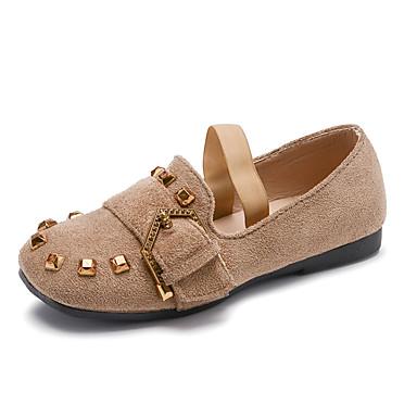 baratos Sapatos de Criança-Para Meninas Couro / Couro Ecológico Rasos Little Kids (4-7 anos) Conforto Tachas cáqui / Rosa empoeirada / Preto Primavera / Verão