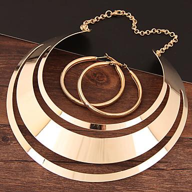 voordelige Dames Sieraden-Dames Ring oorbellen Ketting Hol Statement Dames Eenvoudig Europees Elegant oorbellen Sieraden Goud / Zilver Voor Avond Feest / Oorbellen