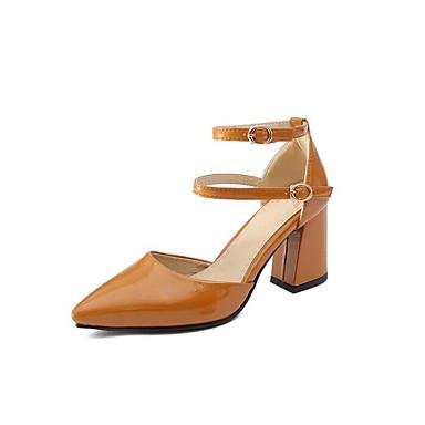 Zapatos Rosa Básico Mujer 06841456 PU Café Tacón Primavera Pump Cuadrado Tacones Almendra TzzFwqdx
