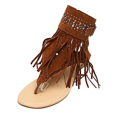voordelige Damessandalen-Dames Sandalen Britse stijl geruite schoenen Platte hak Open teen  Kralen / Gesp / Kwastje Suède Comfortabel / Slingback Zomer Zwart / Beige / Bruin
