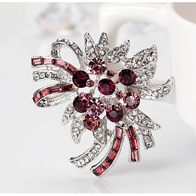 abordables Epingles & Broches-Femme Zircon Broche Tendance Fleur Elégant Romantique Broche Bijoux Violet Fuchsia Pour Mariage Soirée