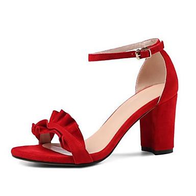 Confort Chaussures 06856067 Sandales Gris Daim Eté Rouge Bottier Noir Talon Femme dqxtHvq
