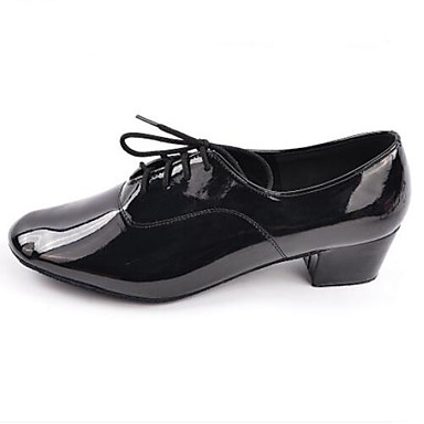 Men's Latin Shoes Dance PU(Polyurethane) Oxford Thick Heel Dance Shoes Shoes Black e05101