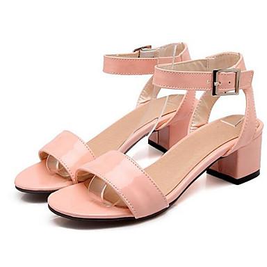 06849819 Cuadrado PU Primavera Tacón Zapatos Negro Rosa Verde Tacones Mujer Confort 4pwCHvxq