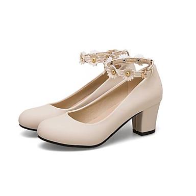 Women's Pumps PU(Polyurethane) White Spring Heels Chunky Heel White PU(Polyurethane) / Beige / Pink dd331a