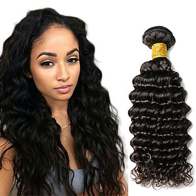 رخيصةأون Tres Jolie®-1 حزمة شعر هندي الموج العميق 8A شعر مستعار طبيعي ينسج شعرة الإنسان 10-20 بوصة ينسج شعرة الإنسان شعر إنساني إمتداد