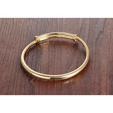 baratos Bangle-Mulheres Bracelete Clássico Criativo senhoras Simples Básico Fashion Para mãe Banhado a Ouro 18K Pulseira de jóias Dourado Para Diário Encontro