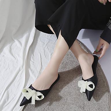 Plano 06857205 Mujer Pajarita Fucsia y PU Zapatos Zuecos Verano Puntiagudo Confort Tacón Dedo pantuflas Negro Aq8c6A