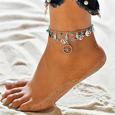 voordelige Dames Sieraden-Dames Turkoois Enkelring Enkelband voeten sieraden Meerlaags Yoga Bladvorm Golf Dames Hangende stijl Bohémien Enkelring Sieraden Zilver Voor Feestdagen Uitgaan