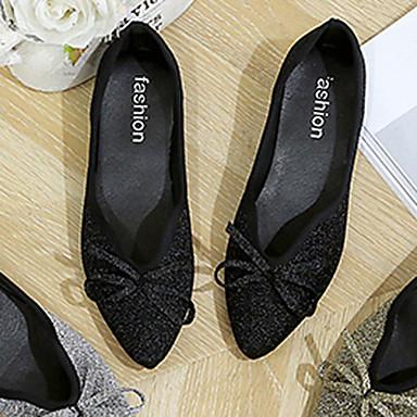 06846231 Dorado Zapatos Mujer Bailarinas Tacón Confort Pajarita Plano Verano PU Dedo Negro Puntiagudo Plateado vOxdpwvq