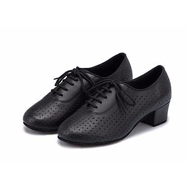 baratos Shall We® Sapatos de Dança-Mulheres Sapatos de Dança Couro Sapatos de Dança Moderna Oxford / Salto Salto Grosso Preto / Espetáculo / Ensaio / Prática