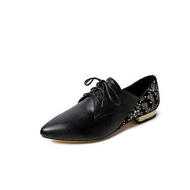 Oxfords Plat Femme 06862075 Confort hiver Cuir Nappa Automne Chaussures Noir Talon waqPxYa1
