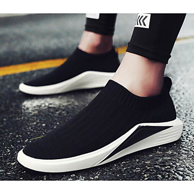Men's Comfort Shoes Elastic Fabric Spring &  Fall Casual / Loafers & Slip-Ons Black / Casual Black / Silver / Red 826fc1