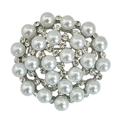 hesapli Moda Broşlar-Kadın's Broşlar Klasik Çiçek Bayan Şık Klasik İmitasyon İnci Yapay Elmas Broş Mücevher Gümüş Uyumluluk Günlük Cosplay Kostümleri