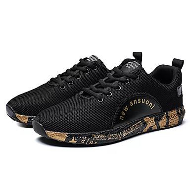 Men's Elastic Comfort Shoes Mesh / Elastic Men's Fabric Fall Sneakers Color Block White / Black / Gold / Black / White 67bd5c