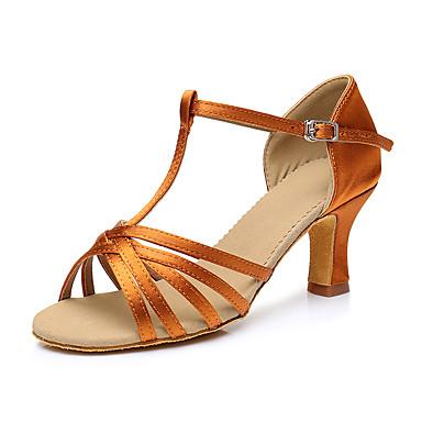 baratos Shall We® Sapatos de Dança-Mulheres Cetim Sapatos de Dança Latina Salto Salto Cubano Personalizável Dourado / Preto / Marron / Couro