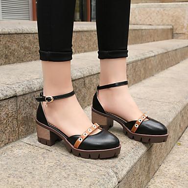 Printemps Talon à de Cheville été Bout 06856020 Chaussures Bride Polyuréthane Gris Talons Bottier Noir rond Femme Amande Chaussures R8wvEE