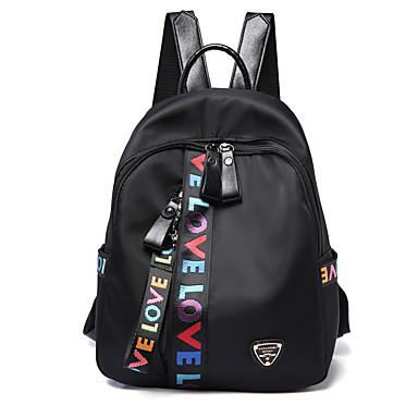 cheap Backpacks-Unisex Bags Polyester / PU(Polyurethane) Backpack Zipper Crocodile Black