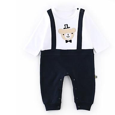 billige BabyGutterdrakter-Baby Gutt Aktiv Daglig Trykt mønster / Lapper Langermet Kjeledress og jumpsuit Navyblå