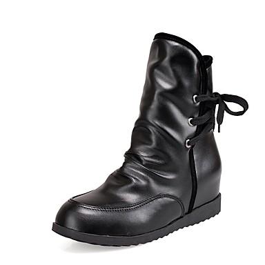 Women's Shoes PU(Polyurethane) Fall Flat & Winter Comfort Boots Flat Fall Heel Black / Yellow / Red 3e7acd