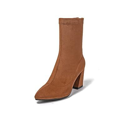Bottier hiver Confort Noir Marron 06848640 Tissu Automne Bottes Chaussures Talon Femme élastique ap8q6fa