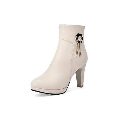 Confort Polyuréthane Automne Femme Chaussures Blanc Bottier 06862602 hiver Noir Beige Bottes Talon wqIOBC