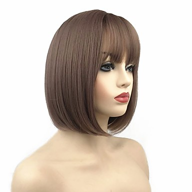 Synthetic Wig Straight Style Short Bob Capless Wig Black Auburn Brown Natural Black Synthetic Hair 10 inch Women's Synthetic Black / Brown Wig Short Cosplay Wig