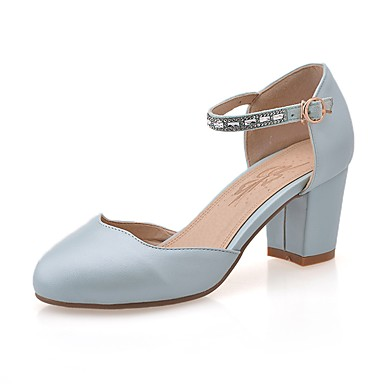 Blanco Confort verano Mujer Azul 06862530 Cuadrado Zapatos PU Tacón Verano Rosa Tacones Primavera ZqzXHq