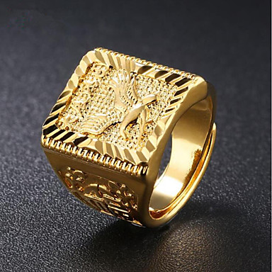 Men's Stylish Signet Ring - 18K Gold Eagle Fashion Jewelry Gold For Daily Evening Party Adjustable