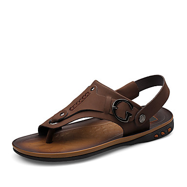 Men's Nappa / Leather Summer Comfort Sandals Yellow / Nappa Brown / Khaki 37b006
