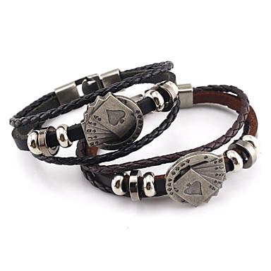 voordelige Herensieraden-Heren Vintage Armbanden loom Bracelet Stijlvol Gevlochten Poker Stijlvol Punk Europees huid Armband sieraden Zwart / Bruin Voor Lahja Dagelijks
