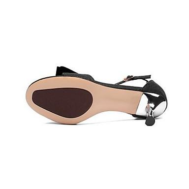 Eté Daim Sandales 06861943 Talon Microfibre Confort Noir Aiguille Chaussures Femme Argent 7BqFgB