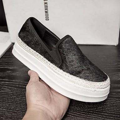 Femme fermé 06848194 Printemps de D6148 et Chaussures Eté Confort Bout Crin Chaussons Noir Mocassins Cheval Creepers qqUSAwp4Rr