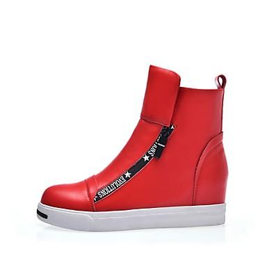 Blanc Talon Cuir Bottes Confort Automne Femme Rouge hiver Plat 06857193 Chaussures Nappa 1Fx4B