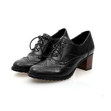 abordables Meilleures Ventes-Femme Oxfords Chaussures à carreaux de style britannique Talon Bottier Bout rond Polyuréthane Rubans Printemps & Automne Noir / Beige / Marron / Quotidien