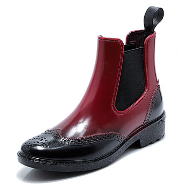 963d3bb559b Mujer Botas de lluvia PVC Otoño invierno Botas Tacón Bajo Dedo redondo  Botines   Hasta el Tobillo Negro   Marrón   Rojo