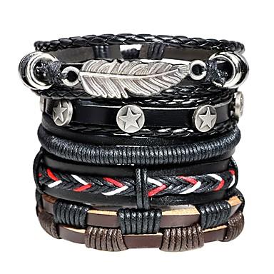 voordelige Herensieraden-Heren Lederen armbanden loom Bracelet Vintagestijl Gevlochten Bladvorm Ster Statement Modieus Henneptouw Armband sieraden Zwart Voor Straat Bar
