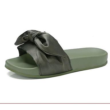 Women's Comfort / Shoes Satin Summer Sandals Flat Heel White / Comfort Green / Pink ec5792