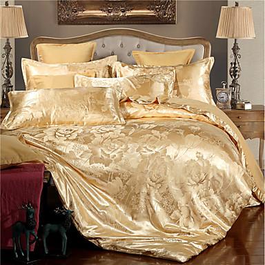 cheap Home Textiles-Duvet Cover Sets Luxury Polyster Jacquard 4 Piece Bedding Sets / 400 / 4pcs (1 Duvet Cover, 1 Flat Sheet, 2 Shams) queen