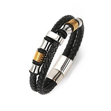 abordables Bracelet-Manchettes Bracelets Bracelet à Perles Bracelets en cuir Homme Tressé Perles Plaqué Or 18 Carats Acier au titane Créatif Gros Fantaisie Elégant unique Bracelet Bijoux Dorée Blanc Forme de Cercle