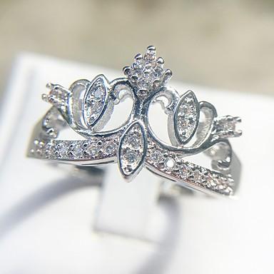 billige Motering-Dame Klassisk Ring Kobber Platin Belagt Fuskediamant Krone damer Romantikk Elegant Britisk Motering Smykker Sølv Til Gave Stevnemøte 6 / 7 / 8 / 9 / 10