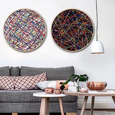 billige Innrammet kunst-Innrammet Lerret / Innrammet Sett - Abstrakt Plastikk Tegning