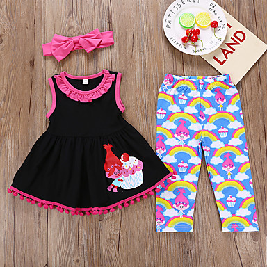 cheap Baby & Kids-Kids Girls' Active Holiday Cartoon Print Sleeveless Cotton Clothing Set Black
