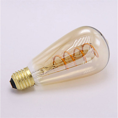 1pc 4 W LED filament žarulje 300 lm E26 / E27 ST64 1 LED zrnca COB Ukrasno Mekani filament Toplo bijelo 85-265 V / RoHs