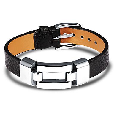 voordelige Herensieraden-Heren Lederen armbanden Armband Klassiek Uniek ontwerp Punk modieus Titanium Staal Armband sieraden Zwart / Rood Voor Dagelijks Uitgaan / Platina Verguld