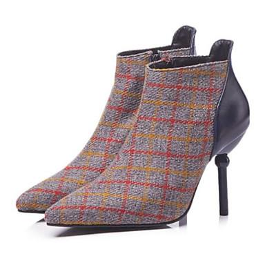b10a486a424f5 للمرأة Fashion Boots حياكة خريف كتب كعب ستيلتو حذاء يغطي أصبع القدم البوط  القصير   بوط الكاحل بني   أزرق