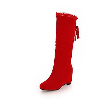povoljno Ženske cipele-Žene Čizme Fashion Boots Heterotipski peta Okrugli Toe Mašnica Brušena koža Čizme do koljena Stil preppy Jesen zima Crn / Crvena