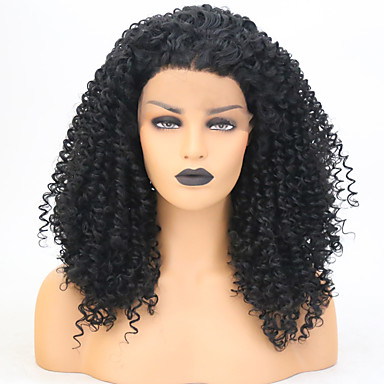 Synthetic Lace Front Wig Curly Asymmetrical Haircut Synthetic Hair
