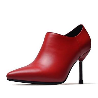 Femme Fashion Boots Boots Boots Cuir Nappa Automne Bottes Talon Aiguille Bout fermé Bottine / Demi Botte Noir / Rouge | Grand Assortiment  82f8bc